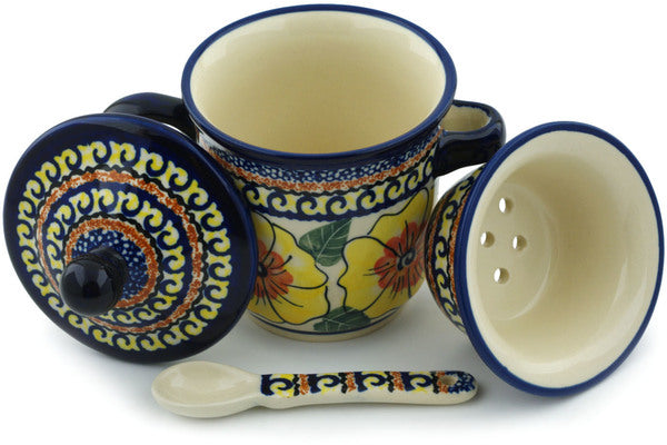 12 oz Brewing Mug with Spoon - Sunny Blooms | Polish Pottery House