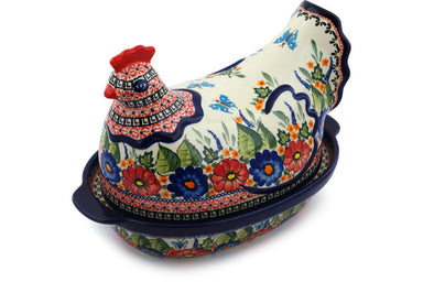 "13"" Hen Box - Butterfly Garden 