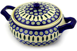 9 cup Covered Baker with Handles - Peacock | Polish Pottery House