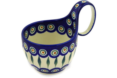 16 oz Soup Cup with Handle - Blue Peacock | Polish Pottery House