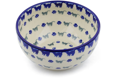 6 cup Serving Bowl - Cats on Parade | Polish Pottery House