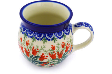 8 oz Bubble Mug - Crimson Bells | Polish Pottery House