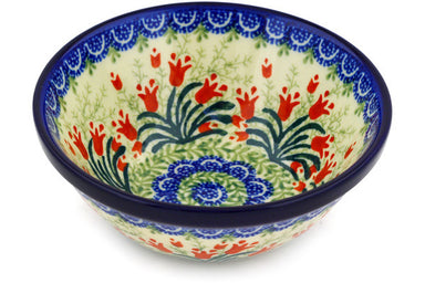 12 oz Dessert Bowl - Crimson Bells | Polish Pottery House
