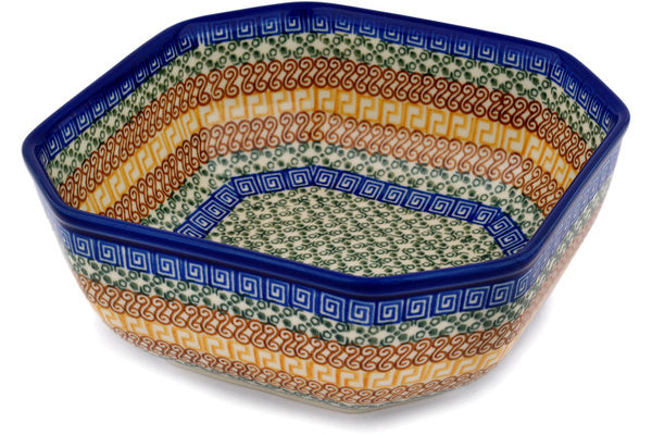 11 cup Serving Bowl - Blue Autumn | Polish Pottery House