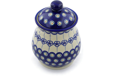 6 cup Jar with Lid and Handles - D106 | Polish Pottery House