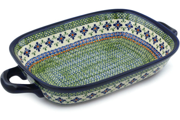 "11"" x 18"" Rectangular Baker with Handles - Emerald Mosaic 