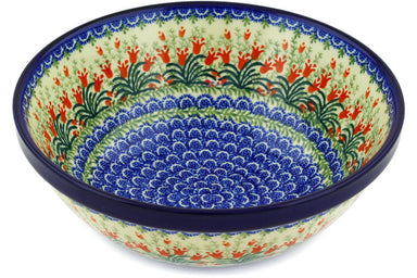 14 cup Serving Bowl - Crimson Bells | Polish Pottery House