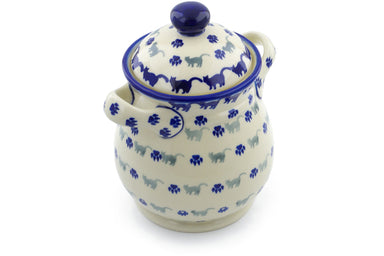 6 cup Jar with Lid and Handles - Cats on Parade | Polish Pottery House