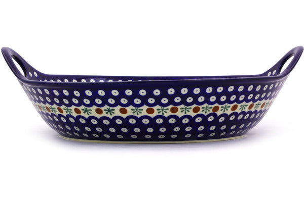 19 cup Serving Bowl with Handles - Blue Old Poland | Polish Pottery House