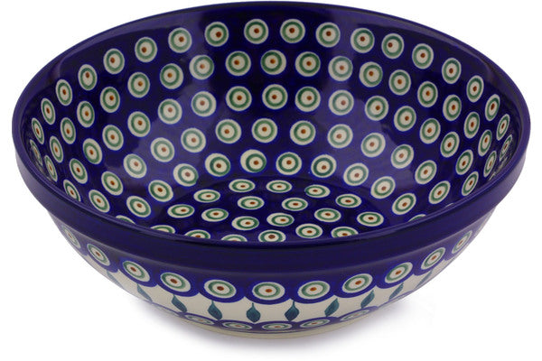 8 cup Serving Bowl - Blue Peacock | Polish Pottery House