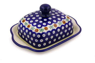 "8"" Butter Dish - Blue Old Poland 