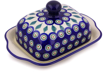 "8"" Butter Dish - Blue Peacock 