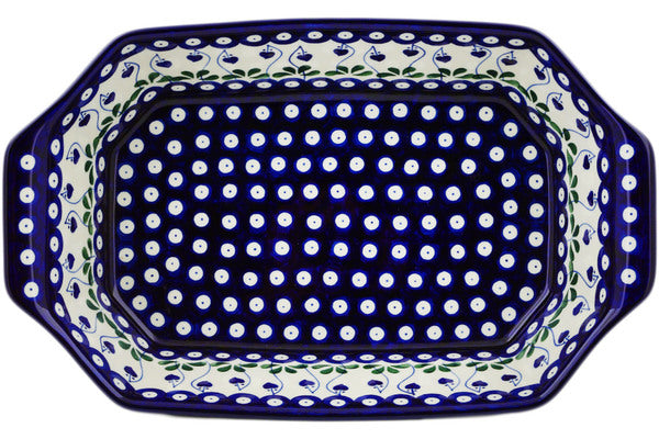 "8"" x 14"" Rectangular Baker with Handles - Blue Bell 