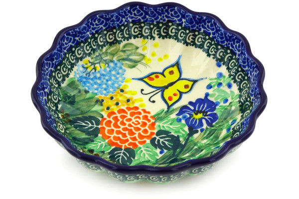 8 oz Scalloped Fluted Bowl - Spring Garden | Polish Pottery House