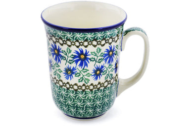 16 oz Mug - Blue Daisy | Polish Pottery House