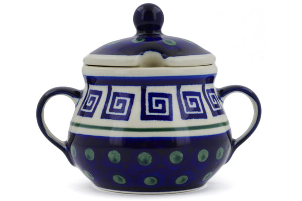 8 oz Sugar Bowl - Greek Key | Polish Pottery House