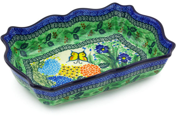 8 cup Scalloped Bowl - Spring Garden | Polish Pottery House