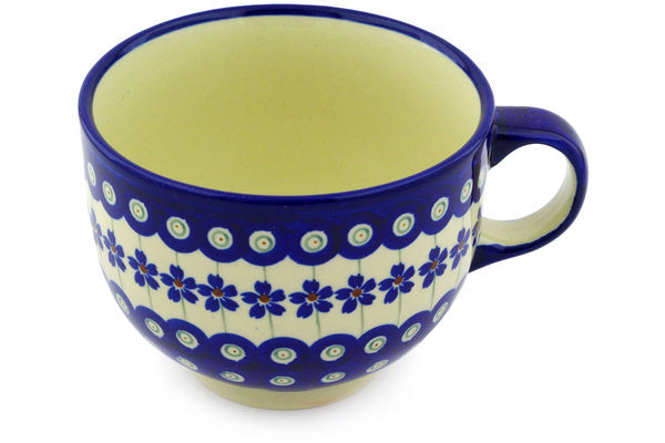 16 oz Cup - Floral Peacock | Polish Pottery House