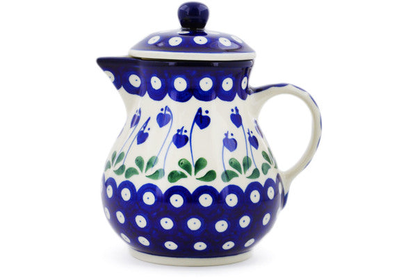 20 oz Pitcher with Lid - Blue Bell | Polish Pottery House