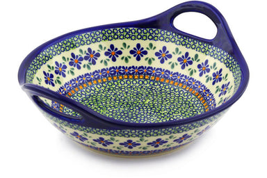 8 cup Serving Bowl with Handles - Emerald Mosaic | Polish Pottery House