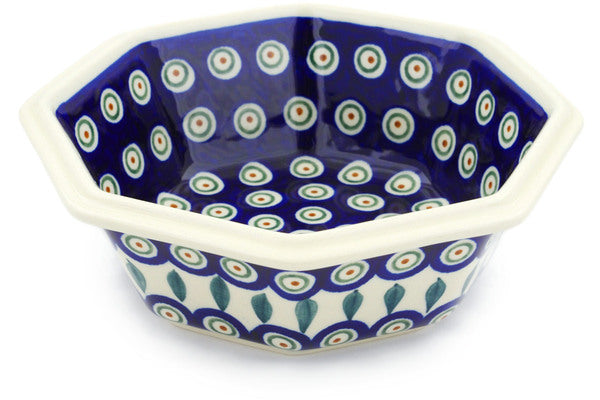 4 cup Octagonal Bowl - Peacock | Polish Pottery House
