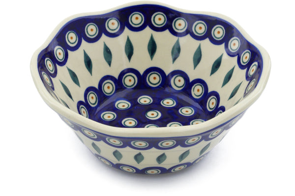 4 cup Fluted Bowl - Peacock | Polish Pottery House