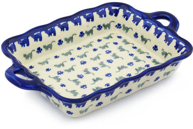 "8"" x 12"" Rectangular Baker with Handles - Cats on Parade 