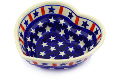 17 oz Heart Bowl - Americana | Polish Pottery House