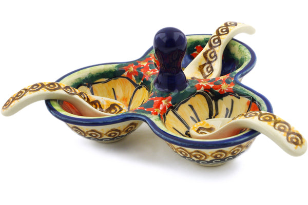 "5"" Condiment Server with Spoons - Autumn Wonder 