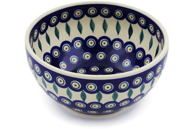 6 cup Serving Bowl - Peacock | Polish Pottery House