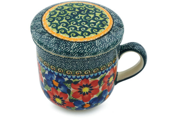 12 oz Brewing Mug - Cottage Garden | Polish Pottery House