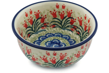 10 oz Dessert Bowl - Crimson Bells | Polish Pottery House
