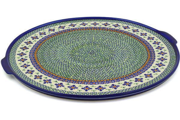 "16"" Pizza Plate - Emerald Mosaic 