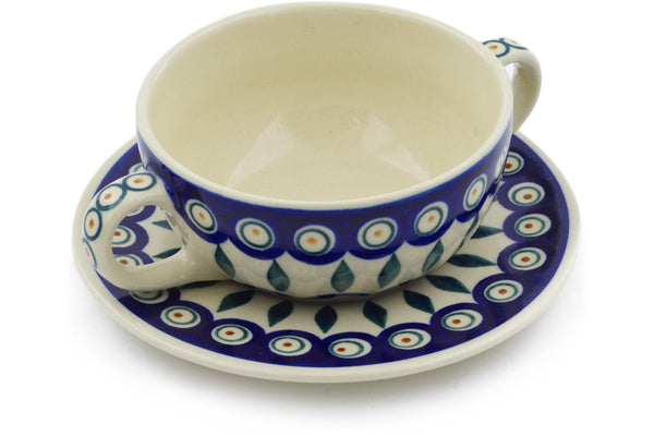 13 oz Soup Cup with Saucer - Peacock | Polish Pottery House