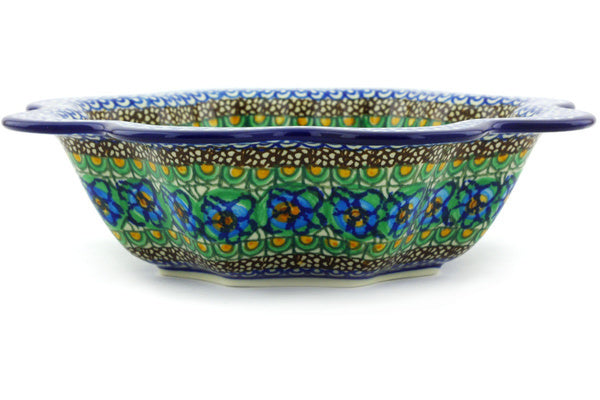 5 cup Scalloped Fluted Bowl - Moonlight Blossom | Polish Pottery House