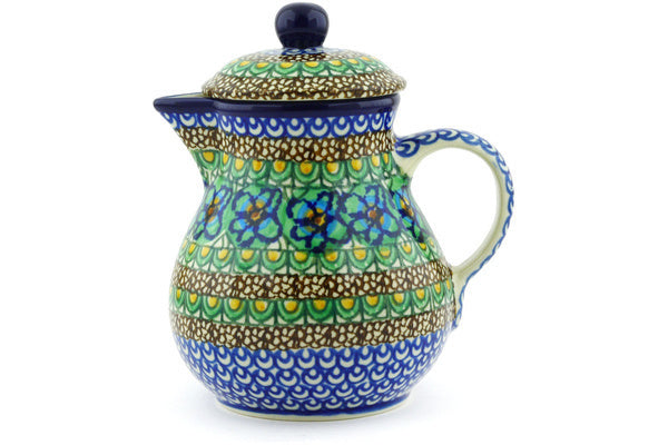 20 oz Pitcher with Lid - Moonlight Blossom | Polish Pottery House