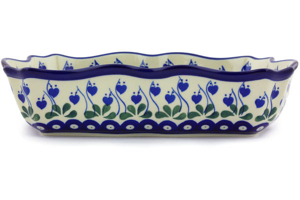 8 cup Scalloped Bowl - Blue Bell | Polish Pottery House