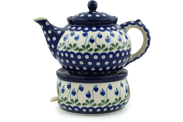 5 cup Tea Pot with Warmer - Blue Bell | Polish Pottery House