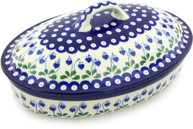 7 cup Covered Baker - Blue Bell | Polish Pottery House