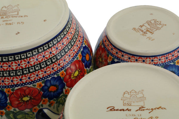 18 cup Set of 3 Canisters - Butterfly Garden | Polish Pottery House