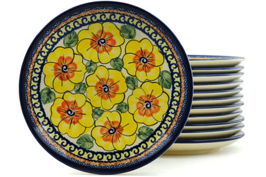 "8"" Set of 12 Salad Plates - Sunny Blooms 