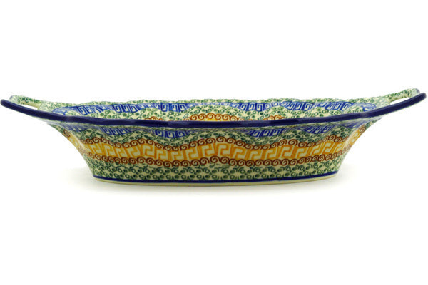 "14"" Platter with Handles - Blue Autumn 