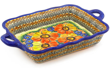"8"" x 13"" Rectangular Baker with Handles - Autumn Wonder 