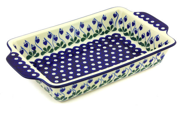 "8"" x 13"" Rectangular Baker with Handles - Blue Bell 
