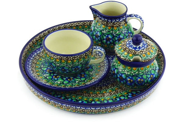 7 oz Dessert Set - Moonlight Blossom | Polish Pottery House