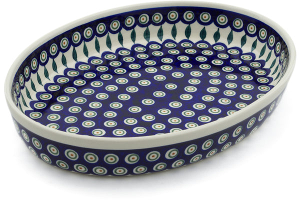 10 cup Oval Baker - Peacock | Polish Pottery House
