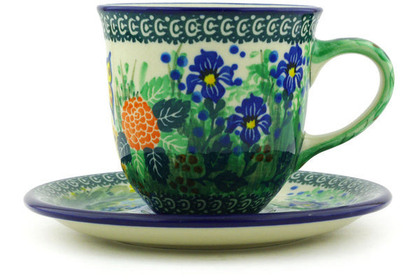 9 oz Cup with Saucer - Spring Garden | Polish Pottery House
