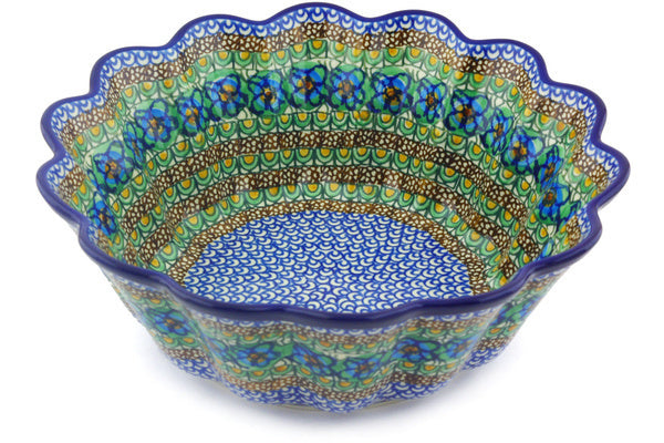 12 cup Scalloped Fluted Bowl - Moonlight Blossom | Polish Pottery House