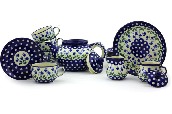 Tea Set for Six - Blue Bell | Polish Pottery House