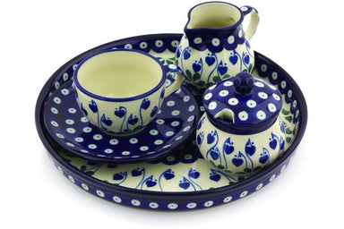 7 oz Dessert Set - Blue Bell | Polish Pottery House